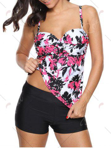 New Twist Front Printed Tankini Set - S RED Mobile