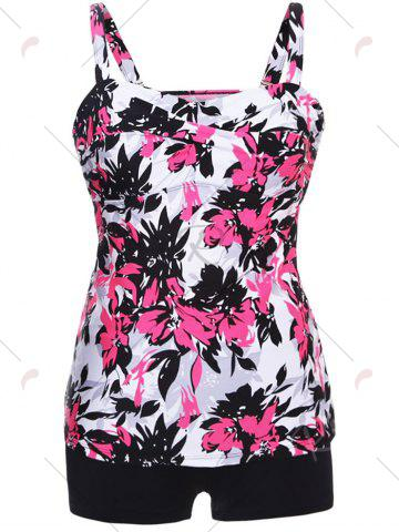 Hot Twist Front Printed Tankini Set - S RED Mobile
