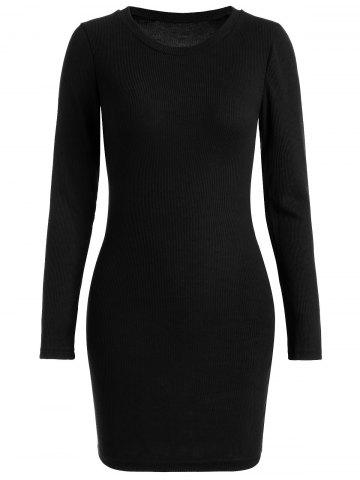 Ribbed Knitted Bodycon Dress - Black - Xl