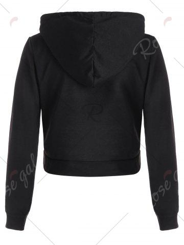 Chic Crop Pullover Graphic Hoodie - M BLACK Mobile