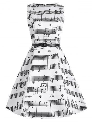 Discount Plus Size Music Pattern Midi 1950s Dress