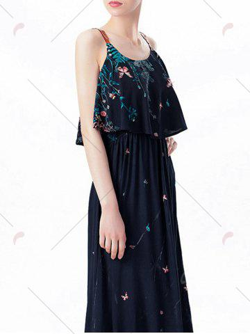 Affordable Ruffle Printed Maxi Dress - M PURPLISH BLUE Mobile