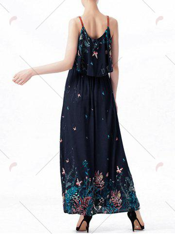 Online Ruffle Printed Maxi Dress - M PURPLISH BLUE Mobile