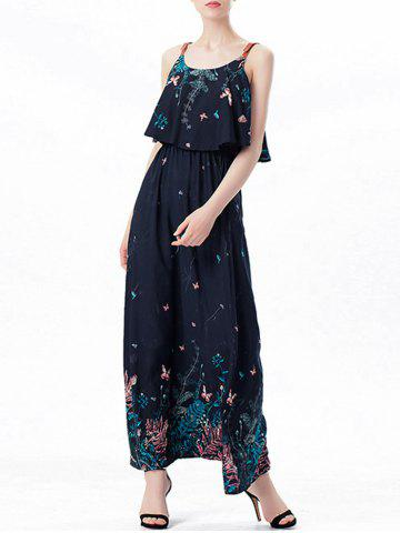 Sale Ruffle Printed Maxi Dress - M PURPLISH BLUE Mobile