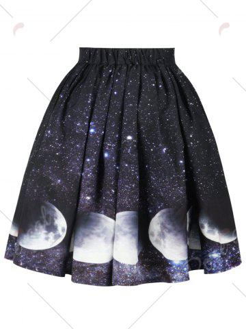 Hot Galaxy Moon Starry Sky Print Skirt - M COLORMIX Mobile