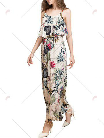 Trendy Ruffle Printed Maxi Dress - 2XL APRICOT Mobile