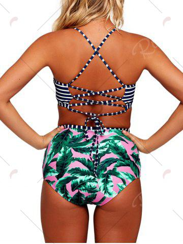 New High Waisted Cross Back Tropical Bikini Set - S COLORMIX Mobile