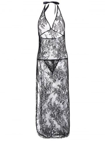 Affordable Maxi Halter Lace Sheer Babydoll Dress - XL BLACK Mobile