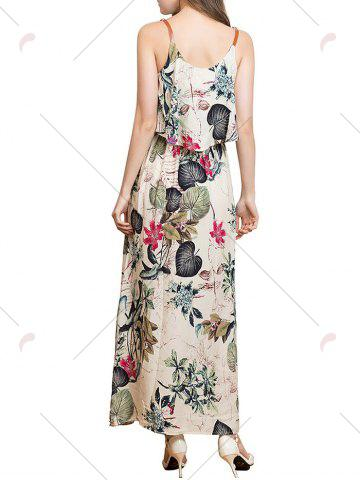 Affordable Ruffle Printed Maxi Dress - XL APRICOT Mobile