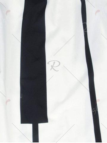 Outfit Striped High Waist Two Tone Skirt - M WHITE AND BLACK Mobile