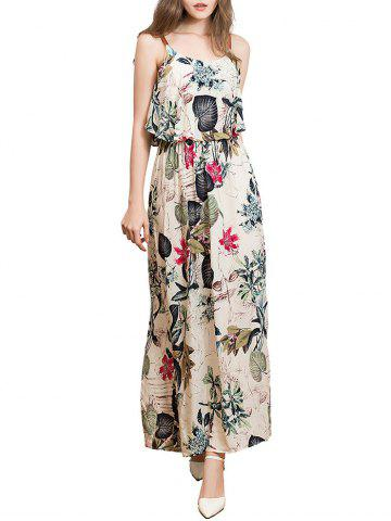 Fancy Ruffle Printed Maxi Dress - L APRICOT Mobile