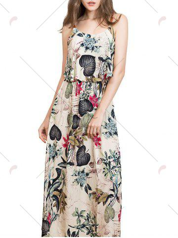 Hot Ruffle Printed Maxi Dress - L APRICOT Mobile