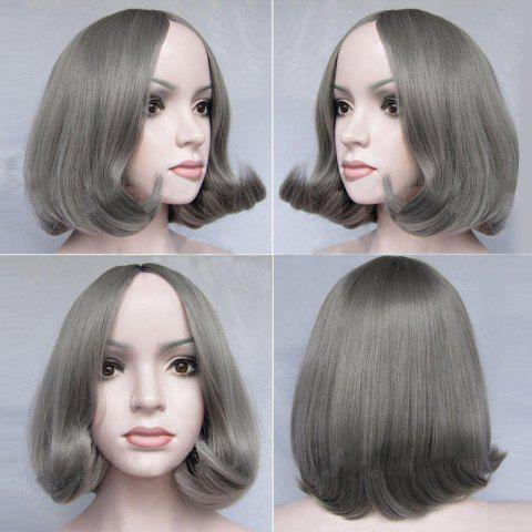 Middle Part Short Tail Adduction Straight Bob Synthetic Wig - Gray - 14inch