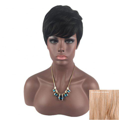New Short Inclined Bang Layered Straight Human Hair Wig - BROWN WITH BLONDE  Mobile