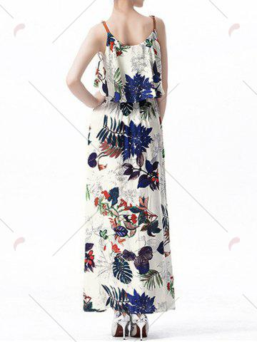 Outfits Ruffle Printed Maxi Dress - XL OFF-WHITE Mobile