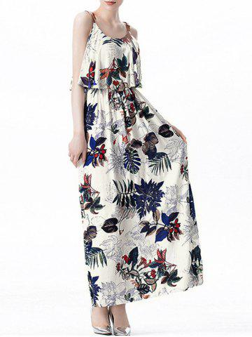 Shop Ruffle Printed Maxi Dress - L OFF-WHITE Mobile