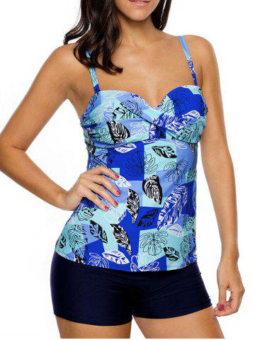 Hot Twist Front Printed Tankini Set - 2XL BLUE Mobile