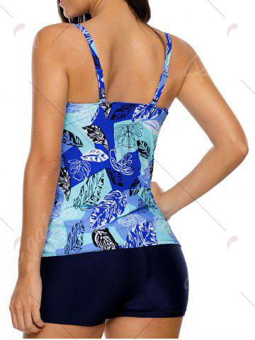 Outfits Twist Front Printed Tankini Set - 2XL BLUE Mobile