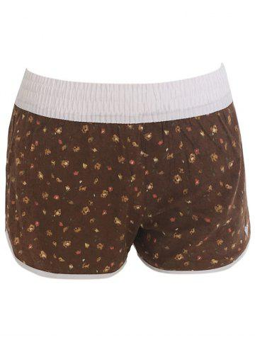 Chic Printed Dolphin Swim Shorts - XS BROWN Mobile