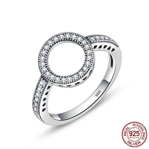 Chic Hollow Out Heart and Round Rhinestone Ring - 6 SILVER Mobile