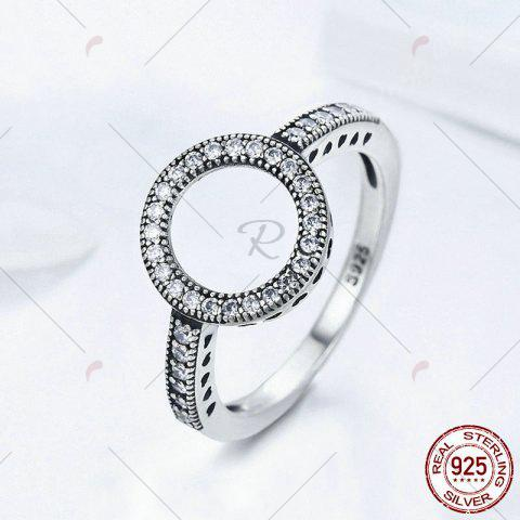 Unique Hollow Out Heart and Round Rhinestone Ring - 6 SILVER Mobile