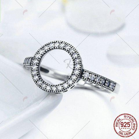 Fashion Hollow Out Heart and Round Rhinestone Ring - 6 SILVER Mobile