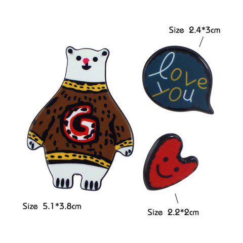 Affordable Heart Bear Love You Brooch Set - COFFEE  Mobile