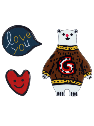 Latest Heart Bear Love You Brooch Set - COFFEE  Mobile