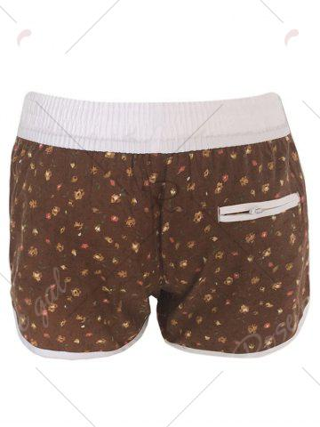 Chic Printed Dolphin Swim Shorts - S BROWN Mobile