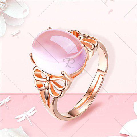 Hot Faux Crystal Gemstone Dragonfly Oval Ring - ROSE GOLD  Mobile