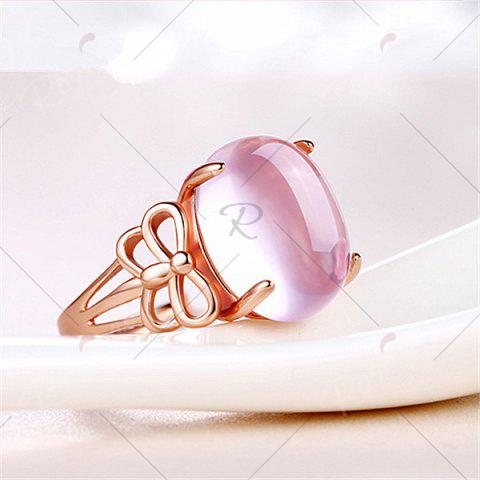 Affordable Faux Crystal Gemstone Dragonfly Oval Ring - ROSE GOLD  Mobile