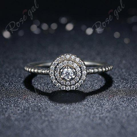 Chic Rhinestones Layered Round Finger Ring - 7 SILVER Mobile