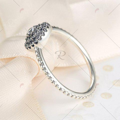 Buy Rhinestones Layered Round Finger Ring - 7 SILVER Mobile