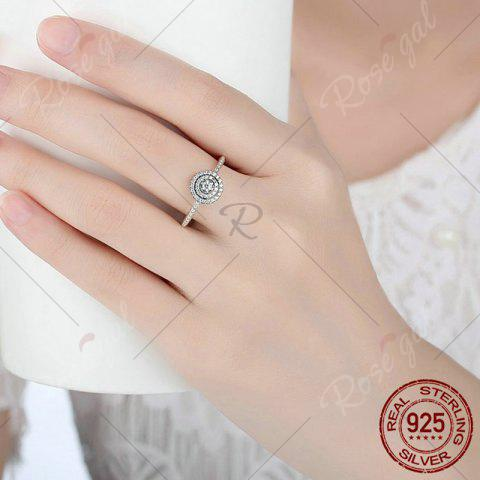 Sale Rhinestones Layered Round Finger Ring - 7 SILVER Mobile
