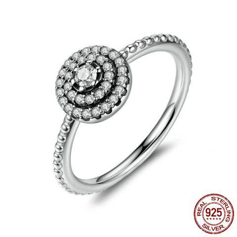 Cheap Rhinestones Layered Round Finger Ring - 7 SILVER Mobile