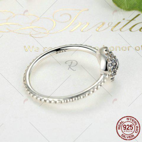 Discount Rhinestones Layered Round Finger Ring - 7 SILVER Mobile