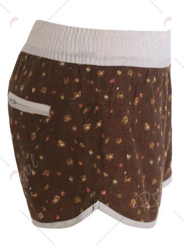 Chic Printed Dolphin Swim Shorts - L BROWN Mobile