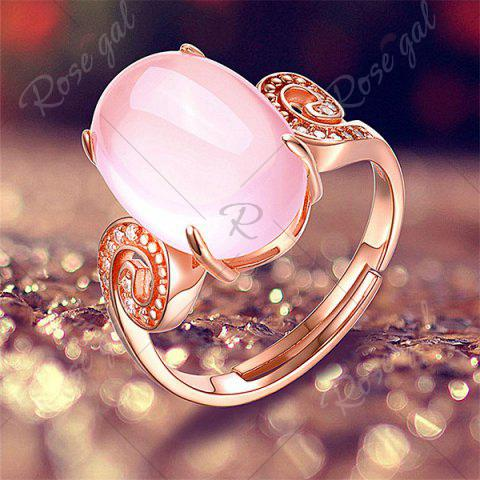 Buy Faux Crystal Gemstone Oval Cuff Ring - ROSE GOLD  Mobile