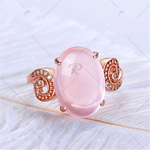 Online Faux Crystal Gemstone Oval Cuff Ring - ROSE GOLD  Mobile
