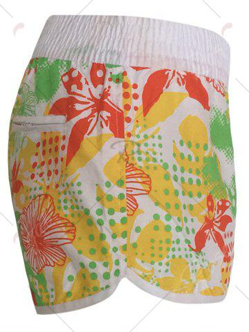Chic Printed Dolphin Swim Shorts - XS YELLOW Mobile
