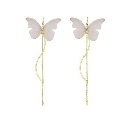 Butterfly Chain Pendant Fish Hook Earrings - Shallow Pink