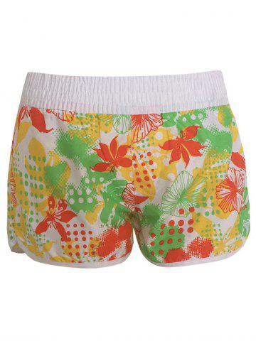 Trendy Printed Dolphin Swim Shorts - S YELLOW Mobile