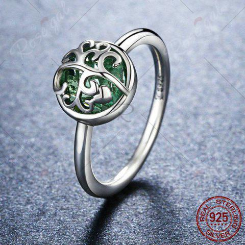 Trendy Heart Tree of Life Sterling Silver Ring - 7 SILVER Mobile