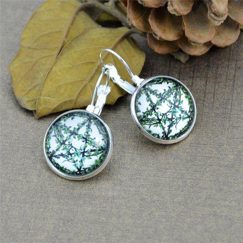 Five Pointed Star Leaf Round Clip On Earrings - Silver