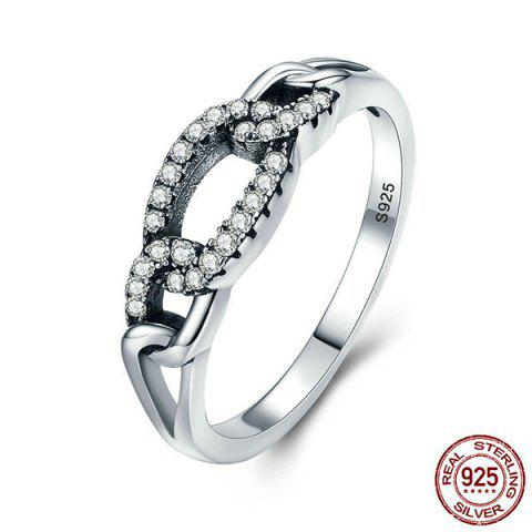 Unique Sterling Silver Rhinestone Circle Ring - 7 SILVER Mobile