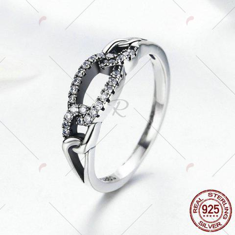 Online Sterling Silver Rhinestone Circle Ring - 7 SILVER Mobile