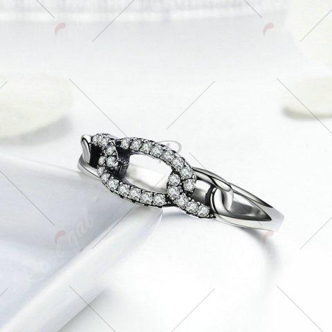 Online Sterling Silver Rhinestone Circle Ring - 6 SILVER Mobile