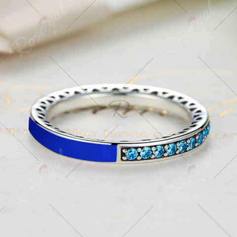 Unique Sterling Silver Rhinestone Heart Ring - DEEP BLUE 6 Mobile