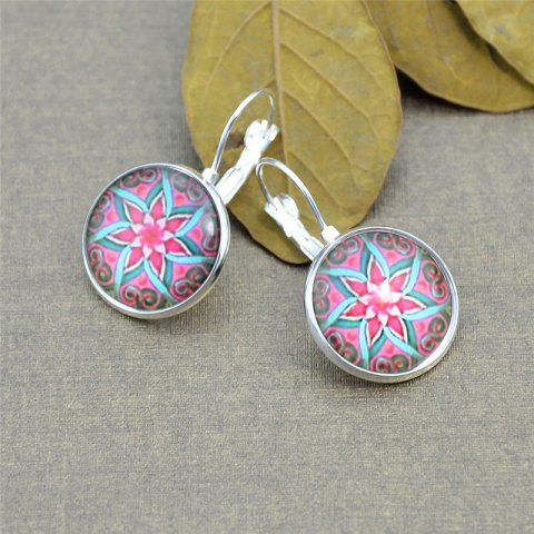 Lotus Flower Pattern Round Clip On Earrings - Silver White