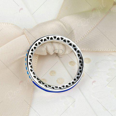 Unique Sterling Silver Rhinestone Heart Ring - DEEP BLUE 7 Mobile